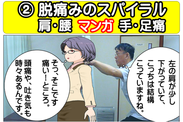 マンガ肩腰手足痛【脱!痛みのスパイラル】駅前整体院